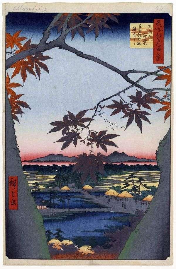 Алые клены в Мама у святилища Тэкона но ясиро и мост Цугихаси   Утагава Хиросигэ