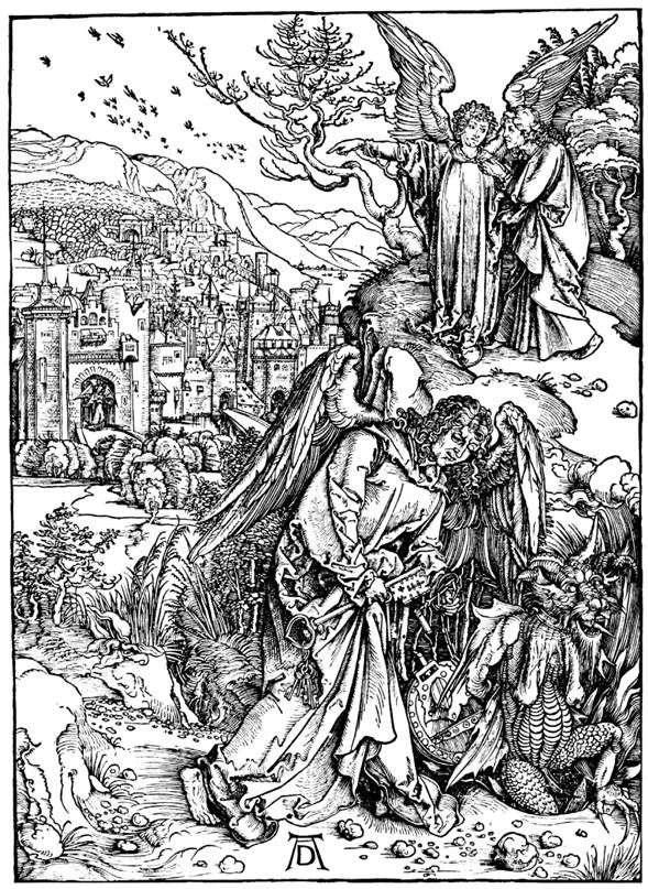 Ангел с ключом от Ада. Гравюра   Альбрехт Дюрер