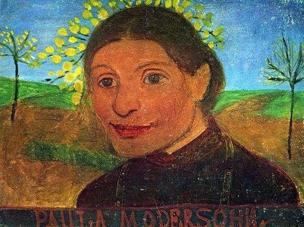 Автопортрет на фоне цветущих деревьев   Паула Модерзон Беккер