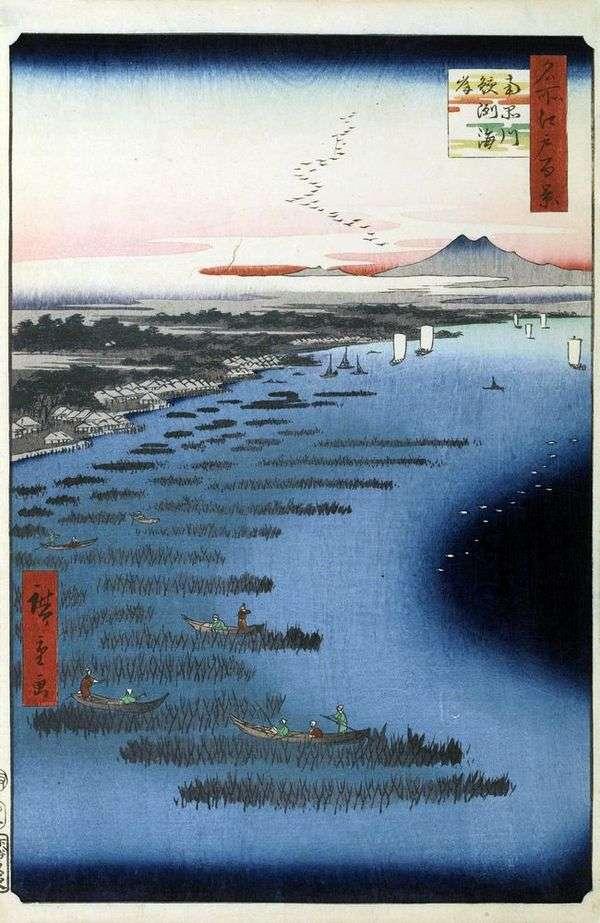 Берег Самэдзукайган и юг Синагава   Утагава Хиросигэ