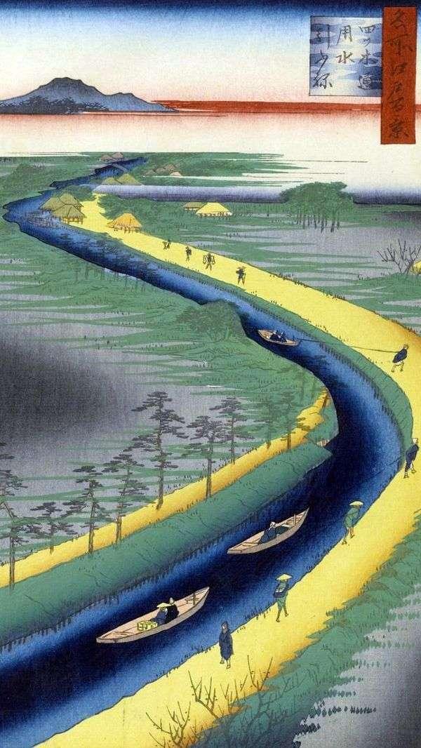 Буксирные лодки на канале Ецуги дори   Утагава Хиросигэ