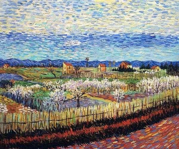 Цветущие персиковые деревья   Винсент Ван Гог