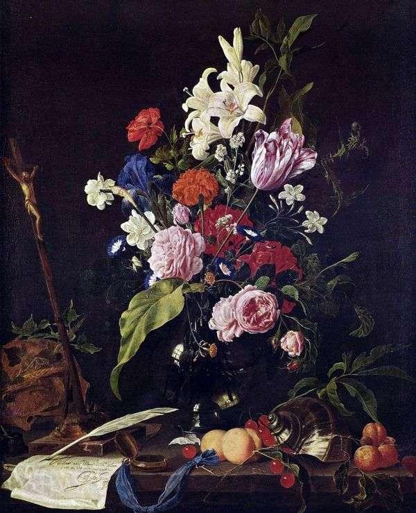 Цветы в стеклянной вазе и фрукты   Ян Давидс де Хем