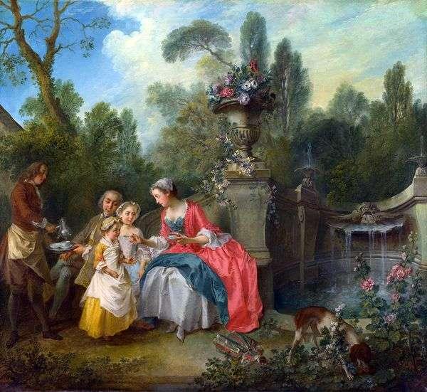 Дама и кавалер с двумя девочками в саду   Никола Ланкре