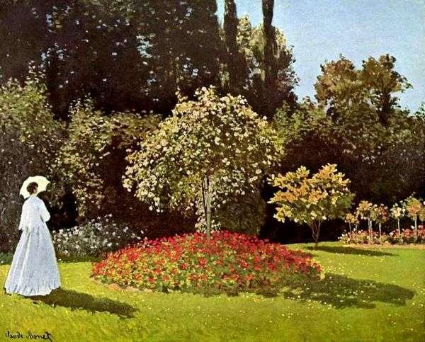 Дама в саду Сент Адресс (Жанна Маргарита Лекадр в саду)   Клод Моне