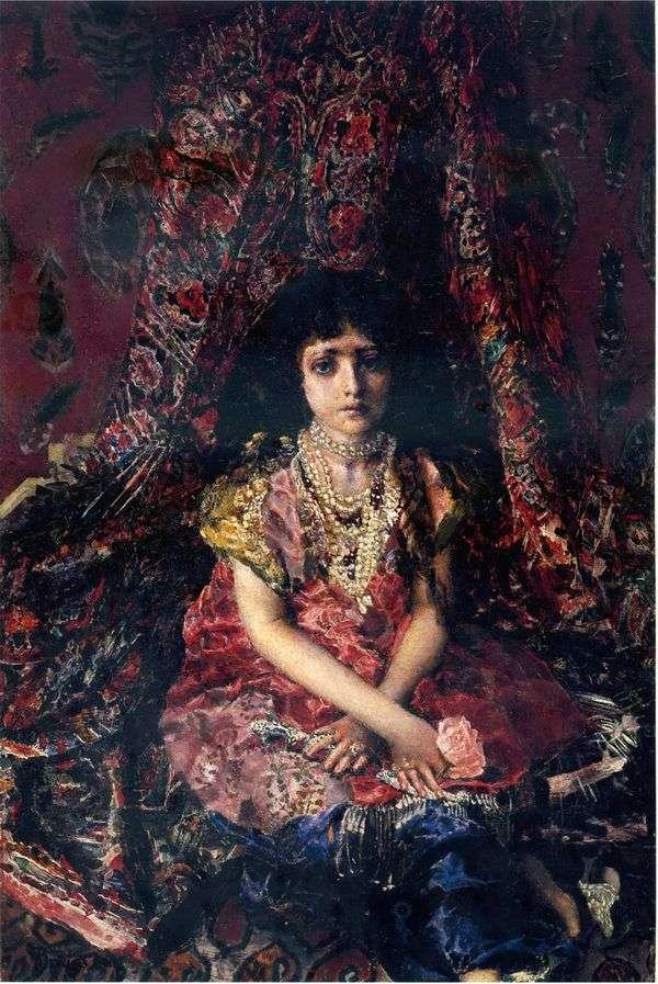 Девочка на фоне персидского ковра   Михаил Врубель