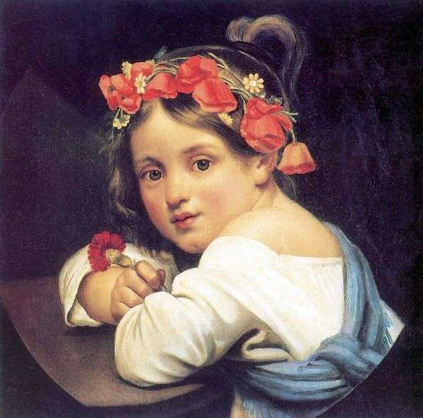 Девочка в маковом венке   Орест Кипренский