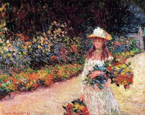 Девочка в саду, Живерни   Клод Моне