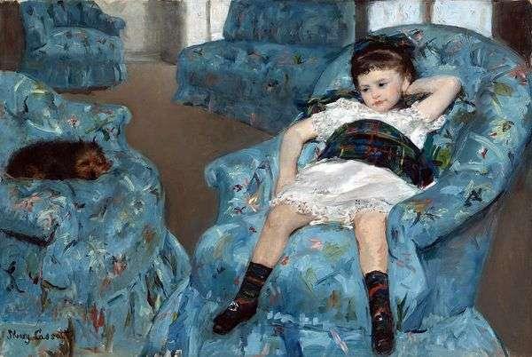 Девочка в синем кресле   Мэри Кассат