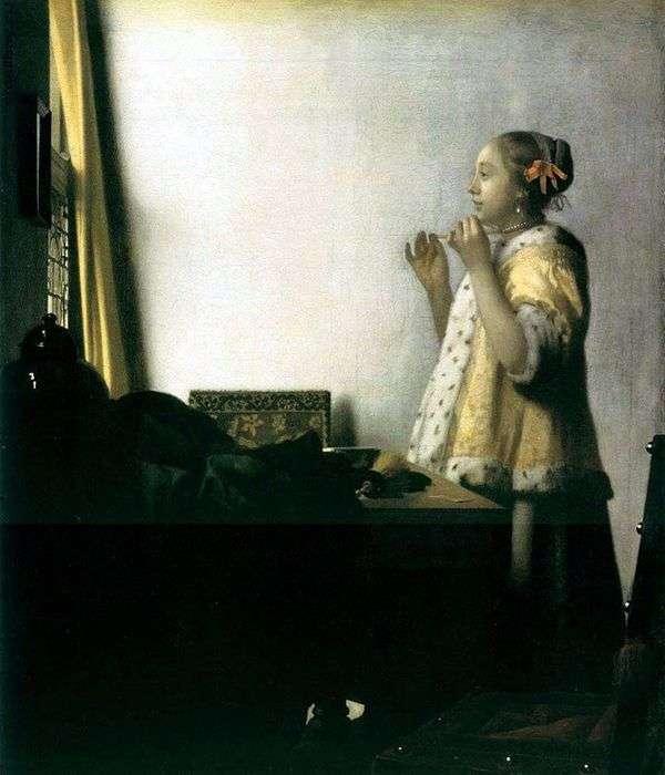 Девушка, примеряющая ожерелье   Ян Вермеер