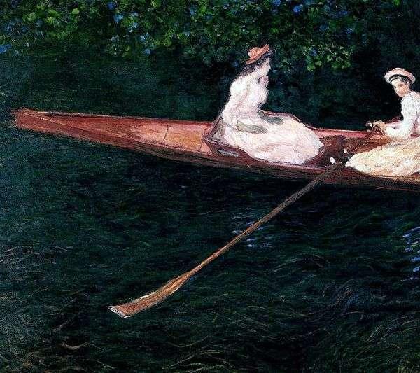 Девушки плывущие в лодке по реке Эпт   Клод Моне