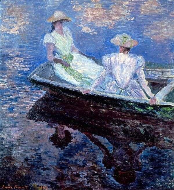 Девушки в голубой шлюпке   Клод Моне