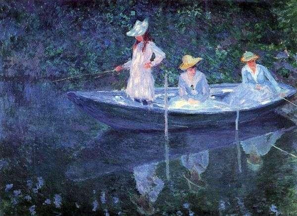 Девушки в лодке   Клод Моне