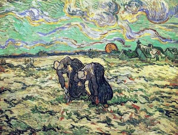 Две крестьянки копаются в поле со снегом   Винсент Ван Гог