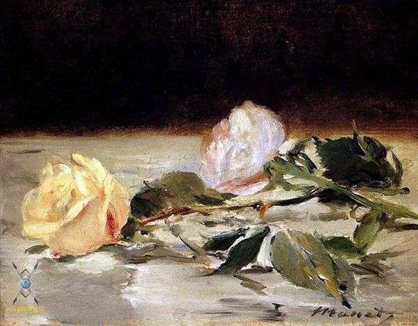 Две розы на покрывале   Эдуард Мане