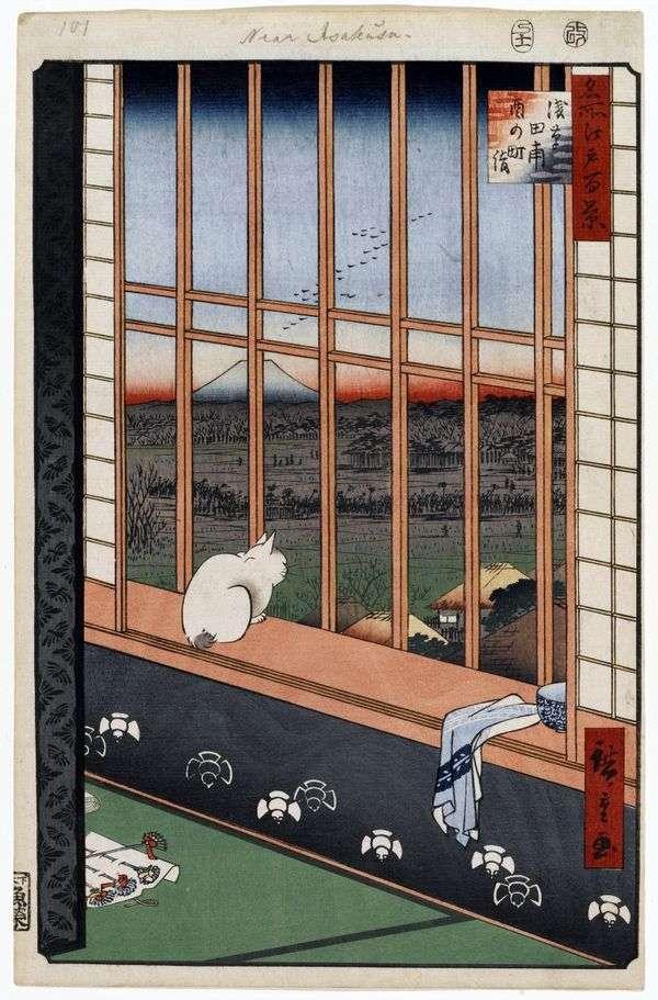 Фестиваль Ториномати на рисовых полях Асакуса   Утагава Хиросигэ