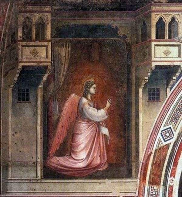 Фигура архангела Гавриила с фрески Благовещение   Джотто
