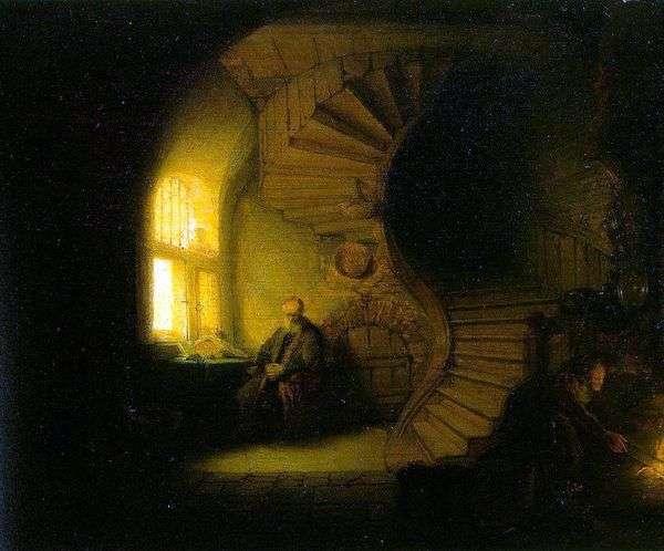 Философ, размышляющий в своей комнате   Рембрандт Харменс Ван Рейн