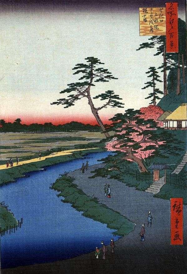 Хижина Басеан на горе Цубакияма у акведука в квартале Сэкигути   Утагава Хиросигэ