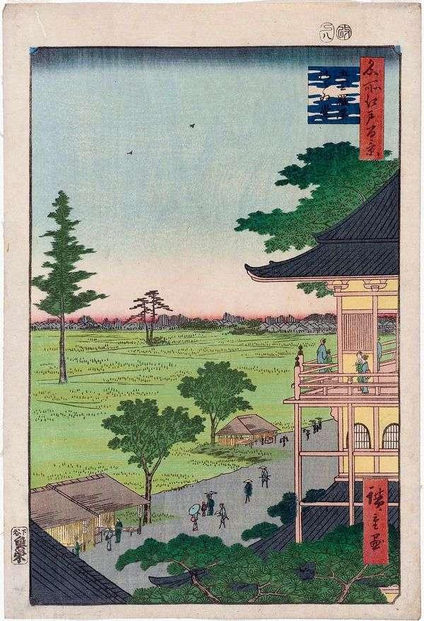 Храм Садзаэ Монастыря Гохя куракан (Пятисот Архатов)   Утагава Хиросигэ
