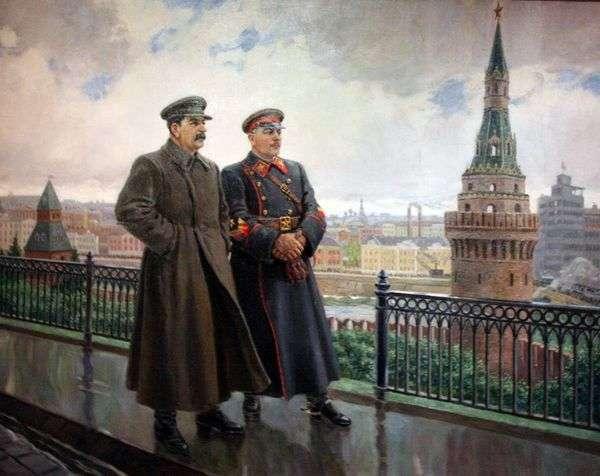 И. В. Сталин и К. Е. Ворошилов в Кремле   Александр Герасимов