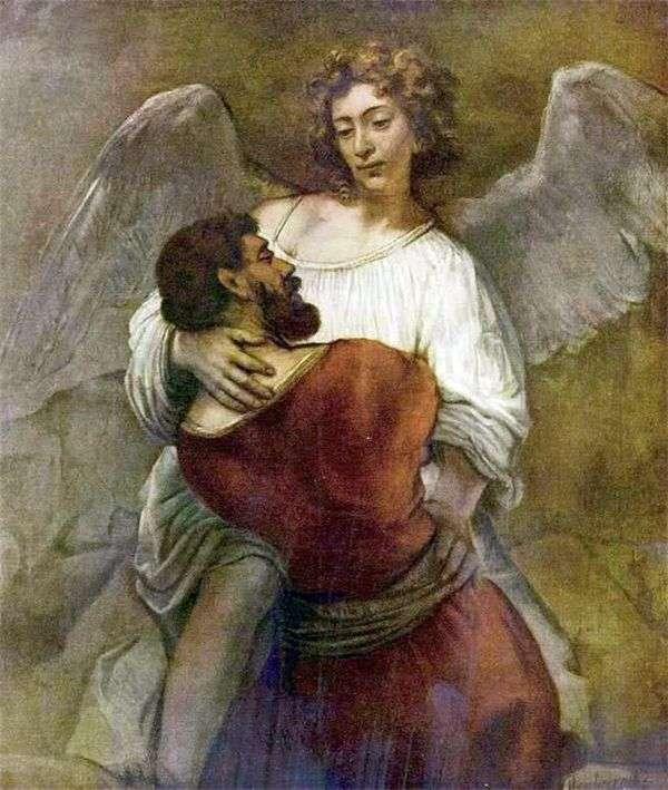 Иаков борется с ангелом   Рембрандт Харменс Ван Рейн
