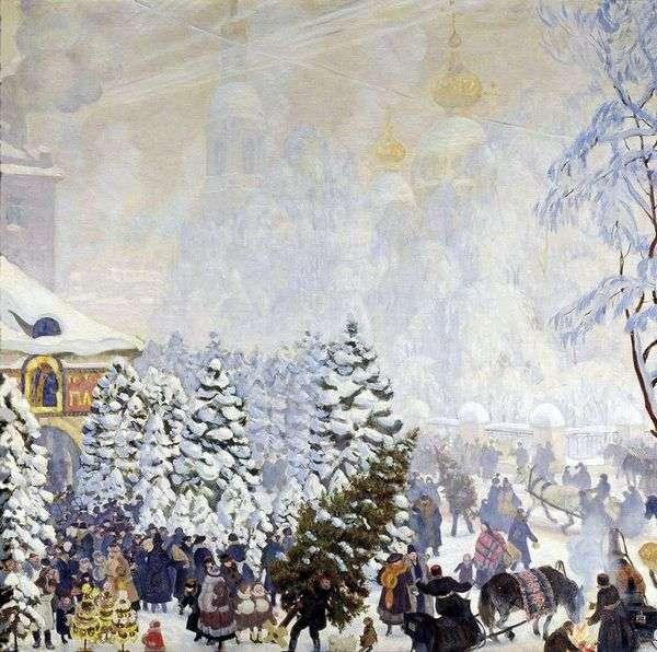Елочный торг   Борис Кустодиев