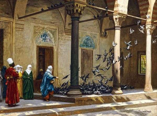 Женщины гарема кормят голубей   Жан Леон Жероме