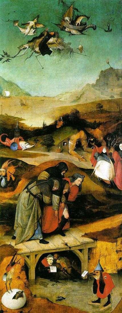 Полет и падение святого Антония. Левое крыло триптиха   Иероним Босх