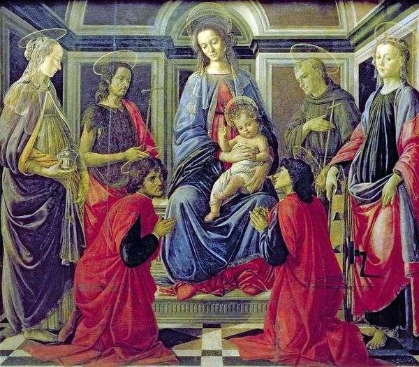 Мадонна с Младенцем и Святыми Марией Магдалиной, Иоанном Крестителем, Козьмой, Дамианом, Франциском Ассизским и Екатериной Александрийской   Сандро Боттичелли