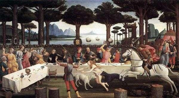 Ужин Настажио у Онисти (История Настаджо дельи Онести)   Сандро Боттичелли