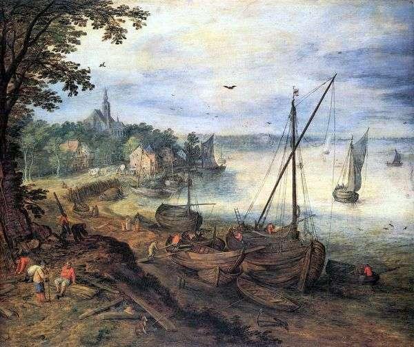Речной пейзаж с дровосеками   Ян Брейгель