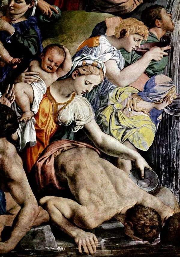 Моисей иссекает воду из скалы (фреска)   Аньоло Бронзино