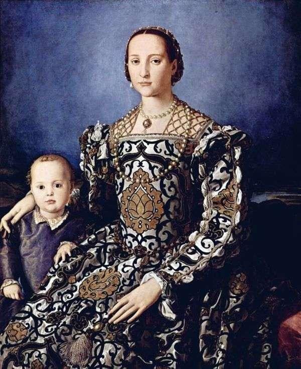 Портрет Элеоноры Толедской с сыном Джованни Медичи   Аньоло Бронзино
