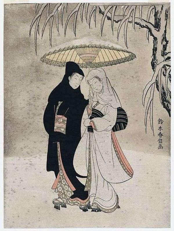 Влюбленные в заснеженном саду   Судзуки Харинобу