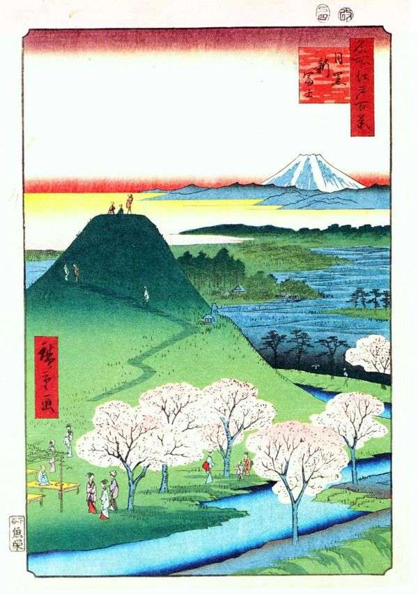 Новая Фудзи в Мэгуро   Андо Хиросигэ