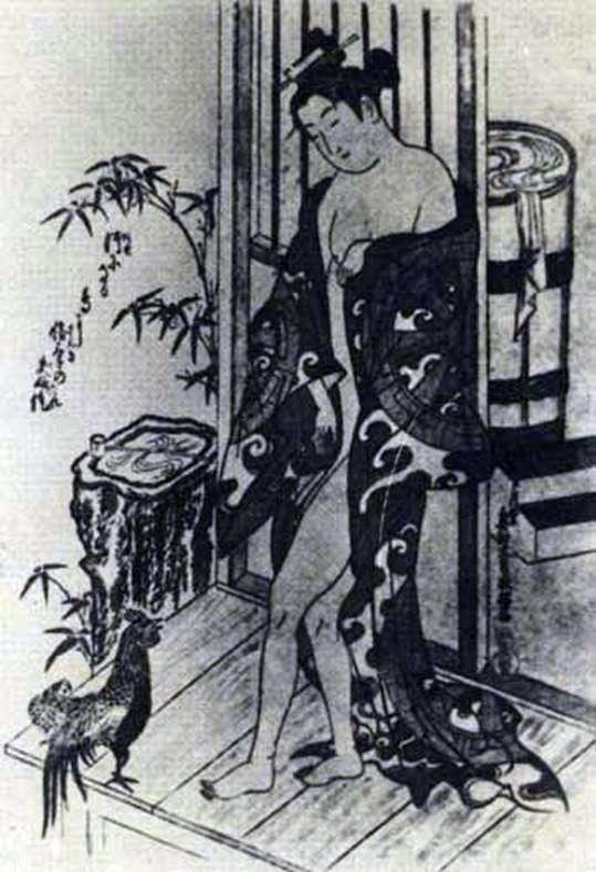 После купания   Окумура Масанобу