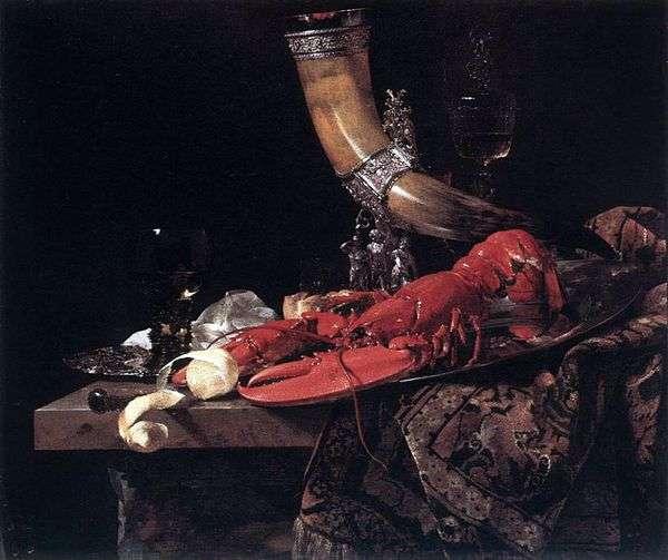 Натюрморт с питьевым рогом   лобстером и бокалами   Виллем Кальф