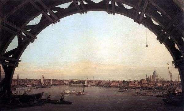 Вид на Лондон через арку Вестминстерского моста   Антонио Каналетто