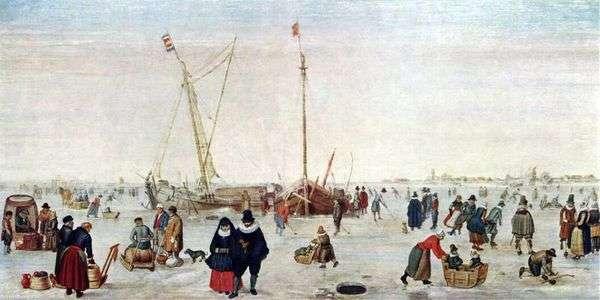 Зимний пейзаж с конькобежцами   Хендрик Аверкамп