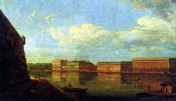 Вид Дворцовой набережной от Петропавловской крепости   Федор Алексеев
