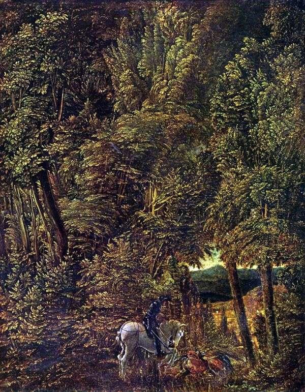 Лесной пейзаж со св. Георгием, поражающим дракона   Альбрехт Альтдорфер