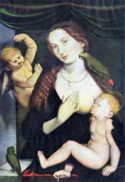 Мадонна с попугаем   Ганс Бальдунг