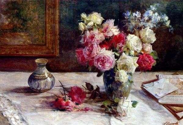 Розы в вазе и несколько книг на столе   Лицинио Барзанти