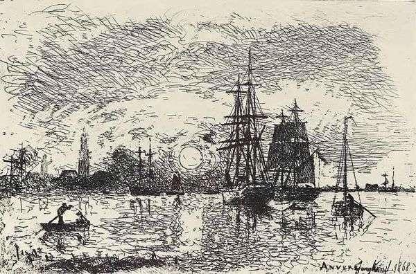 Заход солнца в Антверпенском порту   Ионгкинд Иоханн Бартолд