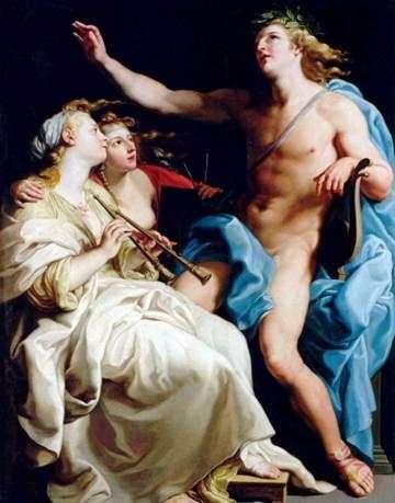 Аполлон и две музы   Помпео Батони