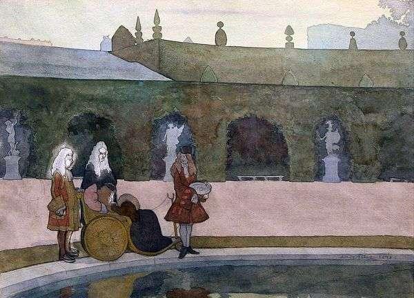 Версаль, Людовик XIV кормит рыб   Александр Бенуа