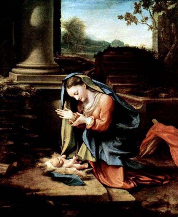 Дева Мария, поклоняющаяся младенцу   Корреджо (Антонио Аллегри)