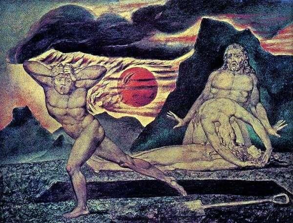 Адам и Ева находят тело Авеля   Уильям Блейк