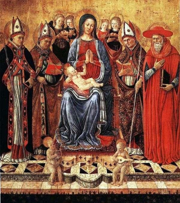 Мария с младенцем на троне в окружении святых Ювеналия, Сабина, Августина, Иеронима и шести ангелов   Джованни Боккати